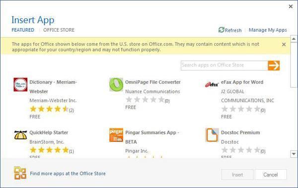 Office 2013 Word - Insert App