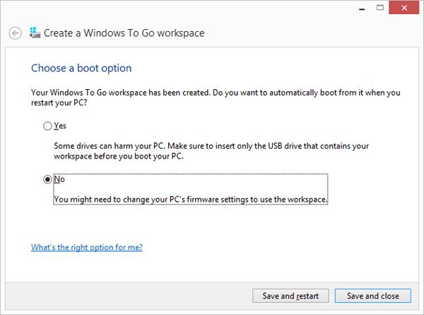 Boot option Windows 8 to go