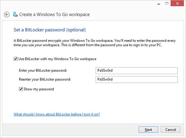 Create Password for Windows 8 to go