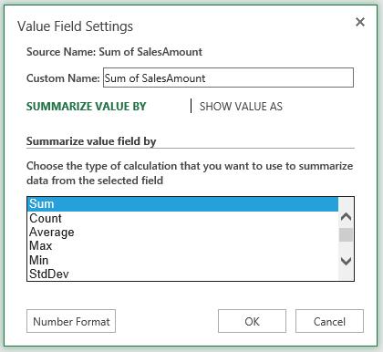 Excel value Field Settings Sum
