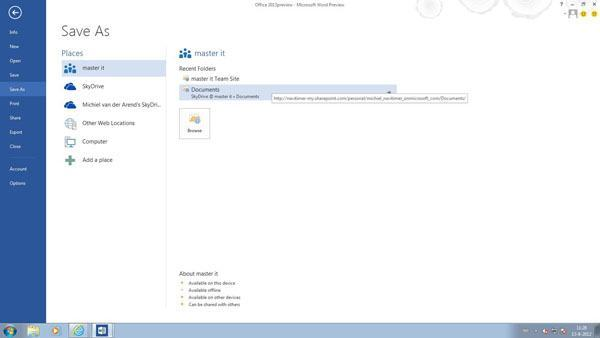 Office 2013 Word - Document save as