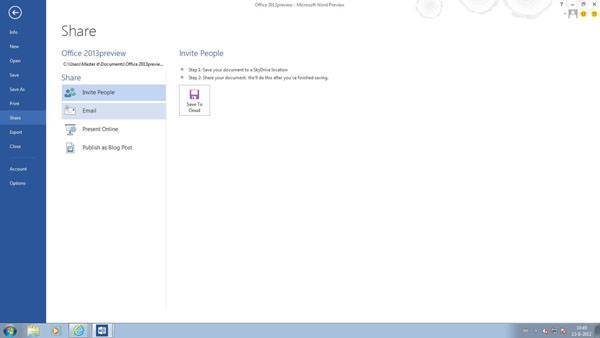Office 2013 Word - Document share