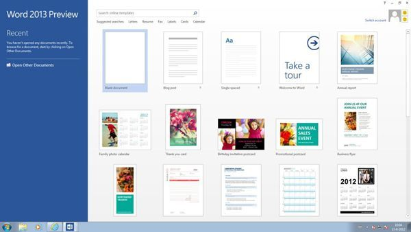 Office 2013 Word - Start scherm