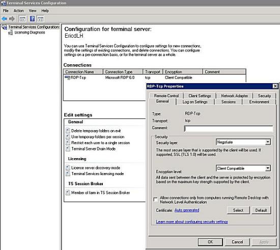 Figuur 1, De vernieuwde Terminal Services beheer tool.