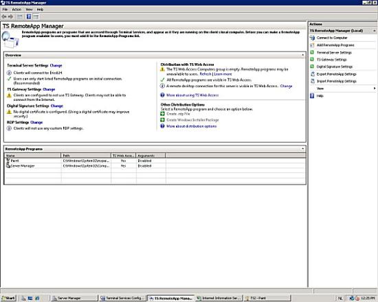 Figuur 2, De TS RemoteApp Manager beheer tool.